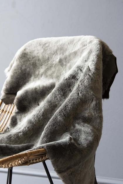 Genuine Shearling Sheepskin Rug - Grey