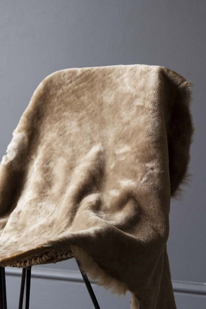 Genuine Shearling Sheepskin Rug - Taupe