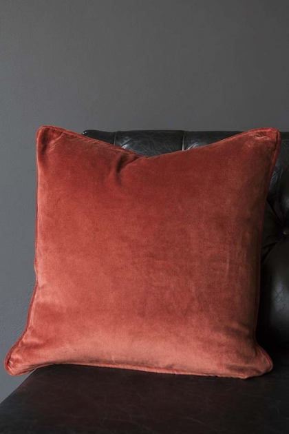 Glorious Velvet Cushion - Deep Terracotta