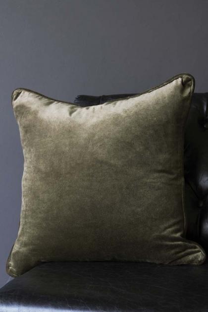 Glorious Velvet Cushion - Khaki Green
