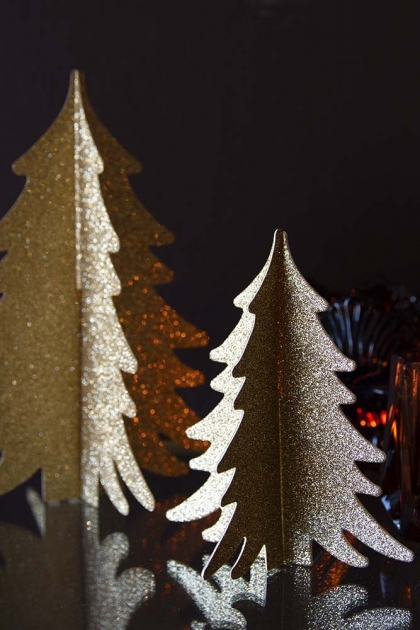 Image of the Gold Set Of 2 Paper Christmas Trees on a dark background