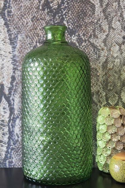 Green Glass Textured Bottle