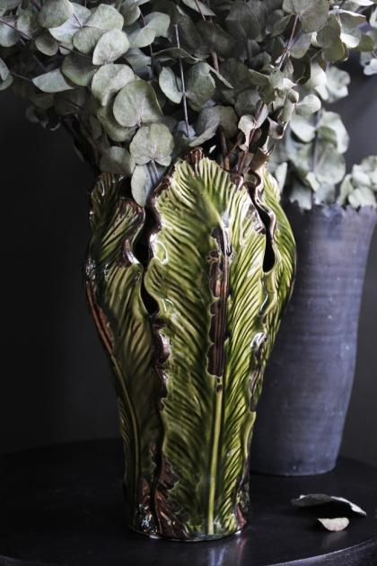 Large Green Leaf Vase