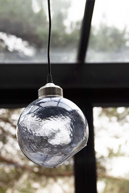 Lifestyle of smoke angled glass sphere pendant ceiling light