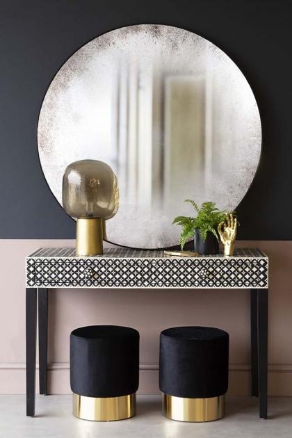 Hand Antiqued Round Circular Mirror - Large