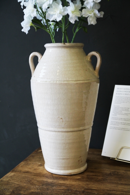 White Handled Ceramic Vase
