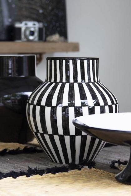 Handmade Moroccan Black & White Chequered Vase