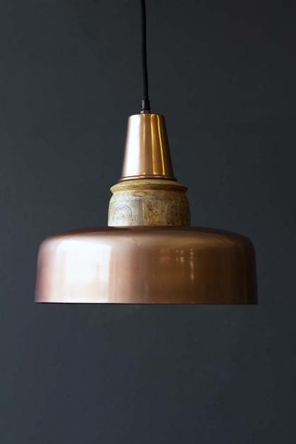 Large Rose Copper & Wood Pendant Light
