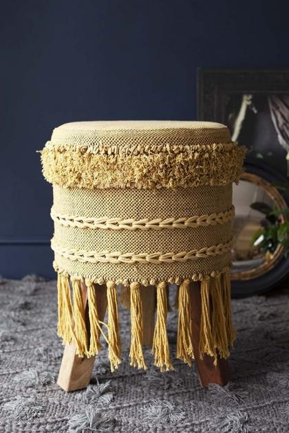 Large Tassel Drum-Style Stool - Mustard