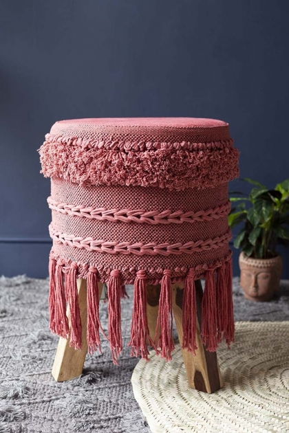 Large Tassel Drum-Style Stool - Raspberry