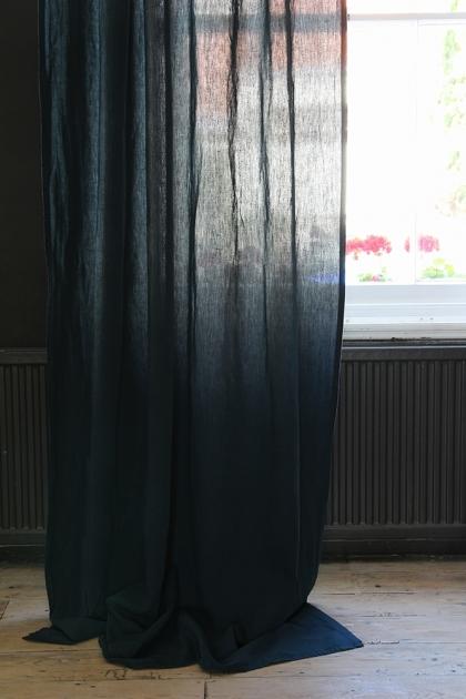 Linen Blend Curtain With Gold Spot - Deep Ocean