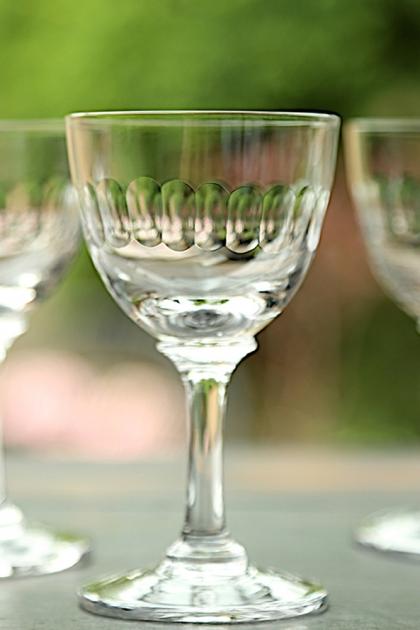Set Of 6 Vintage Style Crystal Liqueur Glasses - Lens