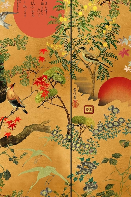 Close-up detail image of the metallic edition ByoBu wallpaper green tree and red suns on oriental style gold background