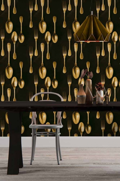 Mind The Gap The Antiquerian - Cutlery Wallpaper - Brass