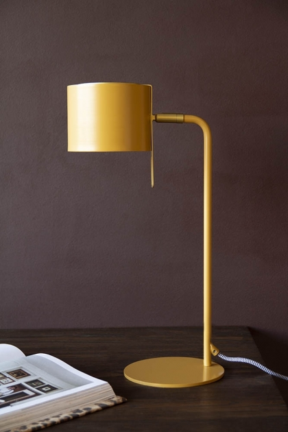 Lifestyle image of the Modern Gold Accent Table Lamp - Ochre Gold