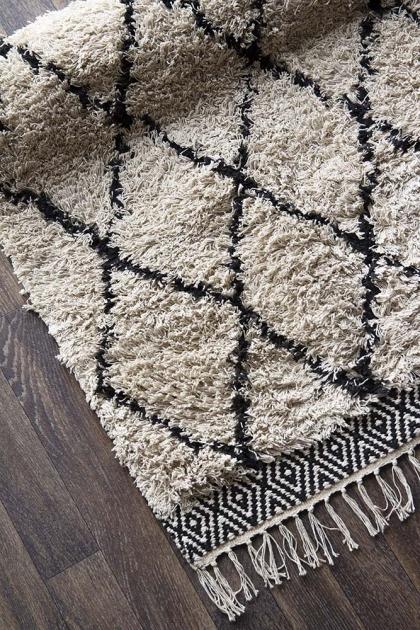 Natural & Black Diamond Benni-Style Cotton Rug