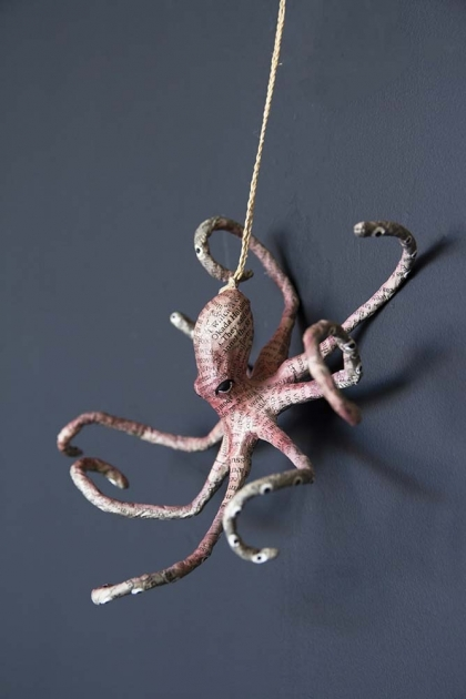 Newspaper Covered Octopus Hanging Decoration