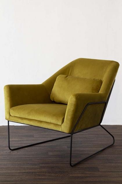 Ochre Gold Velvet Minimalist Scandi Armchair
