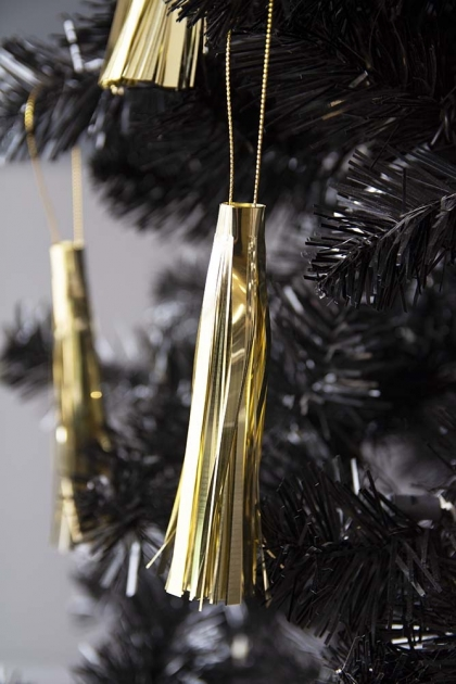 Image of the Pack Of 3 Gold Tassel Hanging Decorations hanging on a Christmas Tree