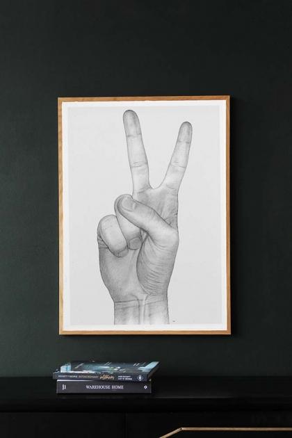 Unframed Peace Hand Art Print by B Bredenbekk