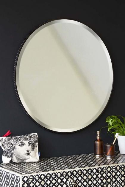 Round Mirror With Metal Bevelled Surround