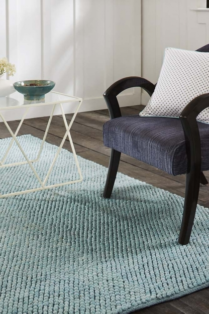 Lifestyle image of the Popcorn Rug in Aqua Blue