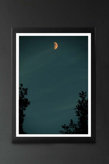 lifestyle image of Unframed Reaching Art Print By Lordt small moon in blue sky with tree silhouettes in black frame on dark wall background