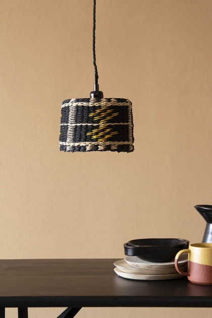 Lifestyle image of the Black, Natural & Yellow Rope Lamp Shade