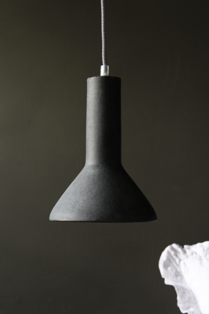 Rustic Black Concrete Ceiling Light