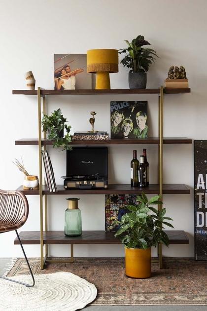 Herringbone Style Dark Wood & Antique Brass 4-Shelf Unit