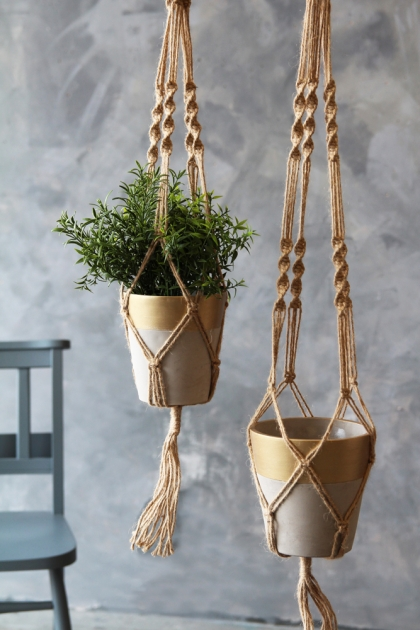 Set Of 2 Gold & Concrete Hanging Planters