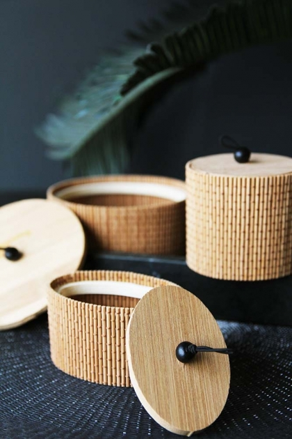 Set Of 3 Bamboo Trinket Boxes - Natural