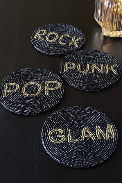 Set Of 4 Beaded Coasters: Rock, Pop, Glam & Punk