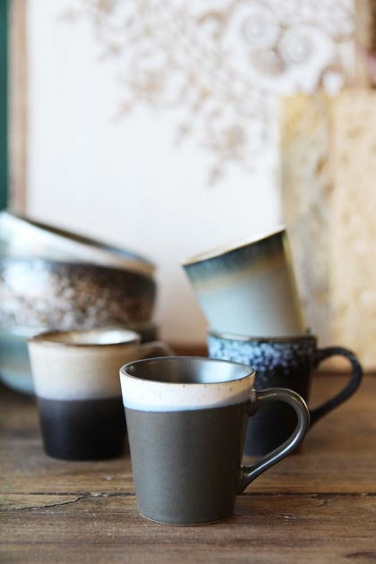 Set Of 4 Earthenware Espresso Mugs - Style 2
