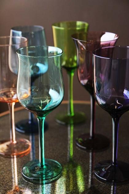 Set Of 6 Assorted Design & Jewel Coloured Wine Glasses
