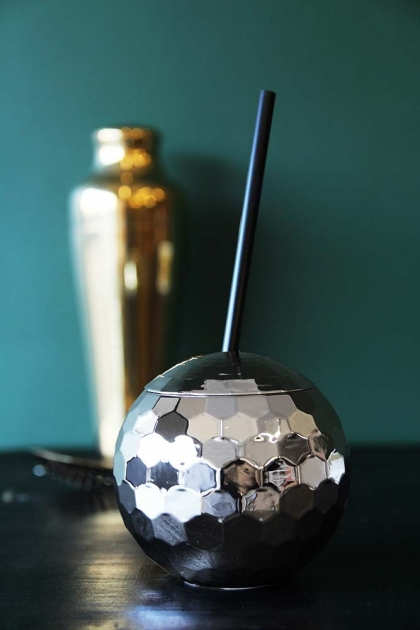 Silver Disco Ball Party Cup With Straw