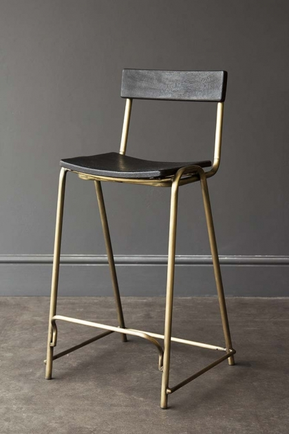 Black Soho Bar Stool With Gold Legs