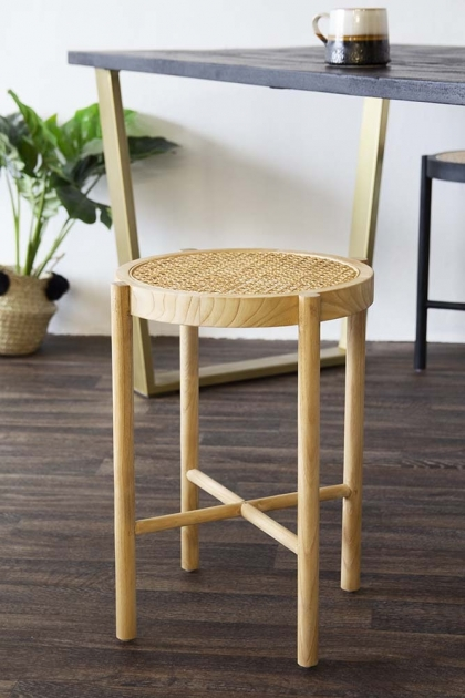 Sungkai Woven Cane Wooden Stool - Natural
