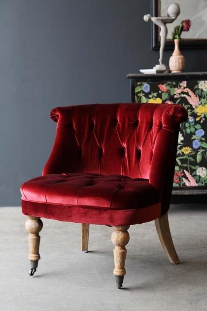 Swedish Red Velvet Boudoir Cocktail Chair