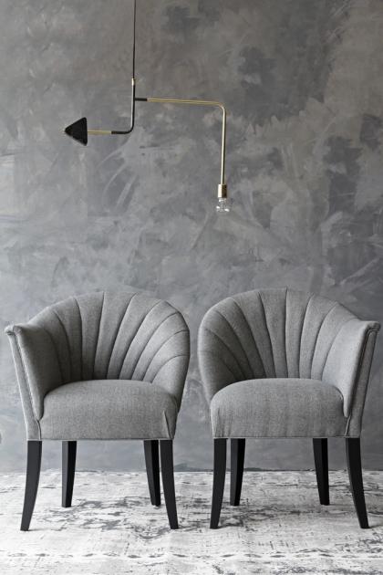 The Lovers Herringbone Tweed Chair - Garson Grey