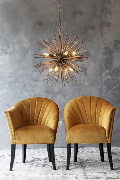The Lovers Velvet Chair - Golden Glow
