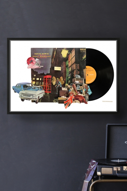 Unframed David Bowie Ziggy Stardust Record Cover Collage by Alison Stockmarr