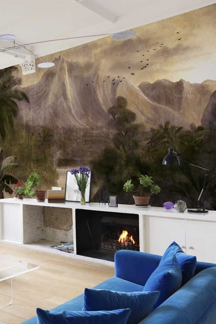 Lifestyle image of the Tropical Paradise Wallpaper Mural - Kodo Rose Pink