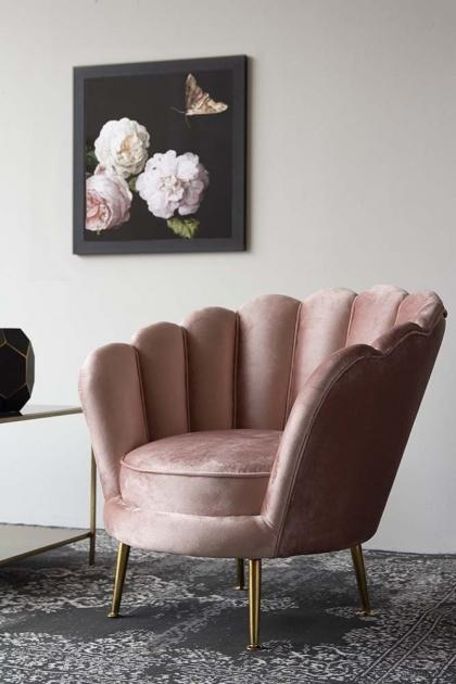 Rose Pink Velvet Petal Armchair