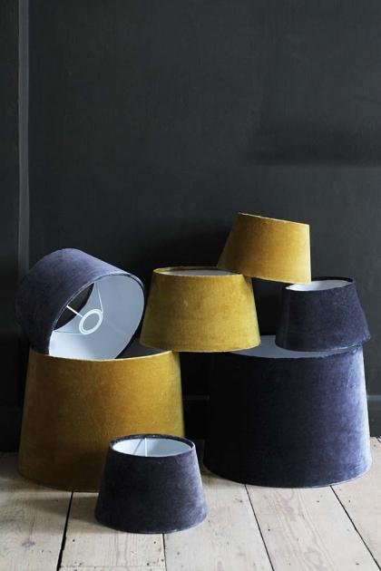 Smokey Blue Sumptuous Velvet Lamp Shade - Small