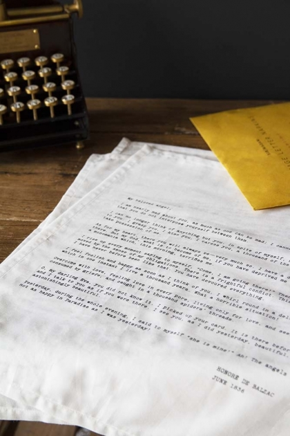 Set Of 4 Vintage Letter Napkins: Love Letters From Honore De Balzac, Lord Byron, James Joyce & John Keats
