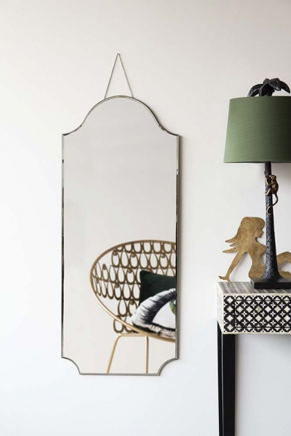 Vintage Style Art Deco Hanging Mirror With Chain