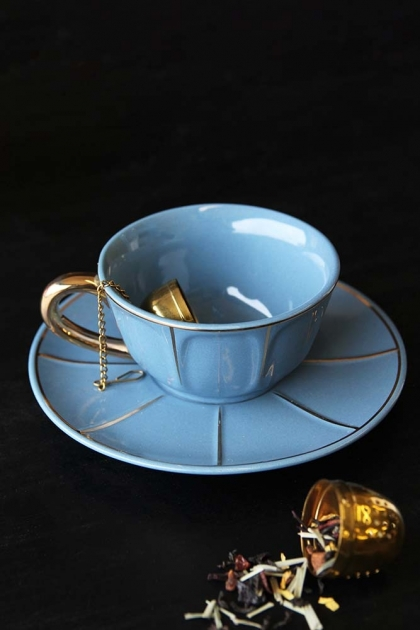 Vintage Style Tea Cup & Saucer - Blue
