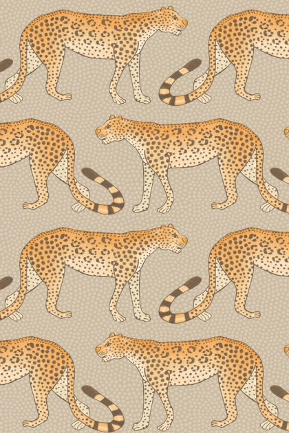 cutout image of Cole & Son - The Ardmore Collection - Leopard Walk - 190/2010 repeated leopard pattern on nude background