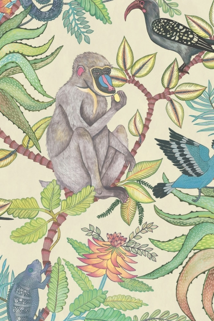 cutout image of Cole & Son - The Ardmore Collection - Savuti - 190/1007 grey monkey and birds with green foliage and plants on green background